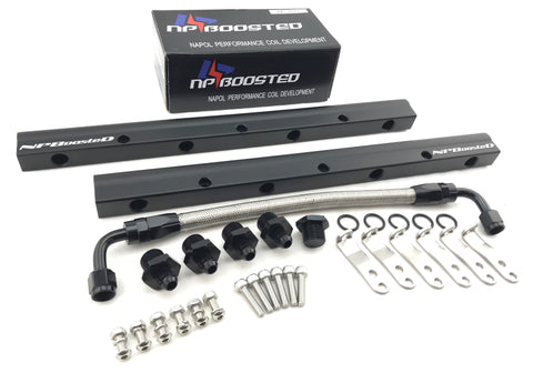 LS1 LS3 LS6 5.7L 6.2L Fuel Rail Kit 6AN High Flow BLACK Rails w/ Fittings & Hardware Corvette Camaro Firebird CTS-V