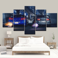 HD Canvas Printed Painting 5 Piece wall art JDM Skyline GTR R34 RB26DETT VS Supra MK4 2JZ-GTE Twin Turbo Car Poster Picture