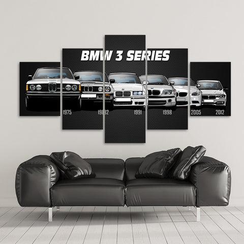 Canvas Printed Poster 5 Pieces HD Automotive M3 M5 Euro / European Sport Car Paintings Wall Art Pictures Modular Frame