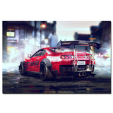 Toyota Supra MKIV MK4 Sports Car Poster 2JZ Canvas Cloth Fabric Print for Home Decor Wall Art Poster