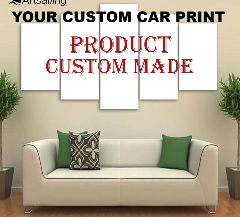 Automotive Car / Truck JDM Custom prints Made From Your Car Photo to 5 Pcs painting Pictures for Living Room customized painting Custom Print On Canvas