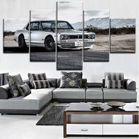 5 Pieces Nissan Skyline Gtr Car Poster Modern Wall Art Decorative Modular Framework Picture Canvas HD Printed One Set Painting