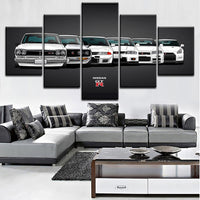 Nissan Skyline GTR Canvas Painting HD Print Artwork 5 Pieces R32 R33 R34 R35 GT-R JDM Sport Cars Picture Home Decorative Wall Art