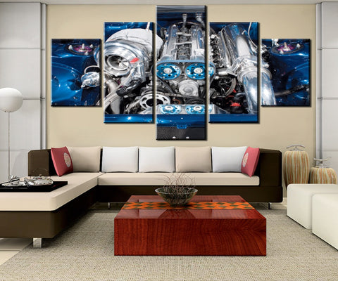 5 Pieces Modular Picture Toyota Supra MK4 MKIV 2JZGTE Twin Turbo Canvas Painting 2JZ Car Engine Modern Decorative Canvas Painting Wall Pictures For Living Room Framed