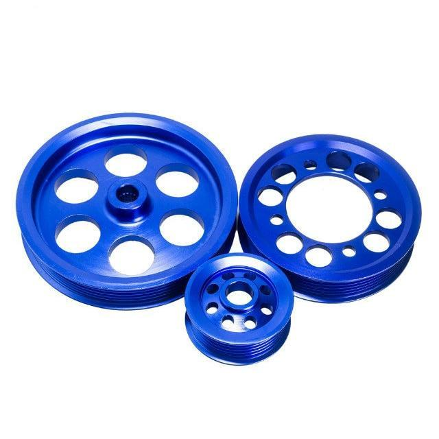 CRANK PULLEY SET FOR 1993-1997 TOYOTA SUPRA JZA80 2JZGTE 2JZ 2JZ-GTE UNDERDRIVE LIGHTWEIGHT CRANK PULLEY (3PCS) BLUE