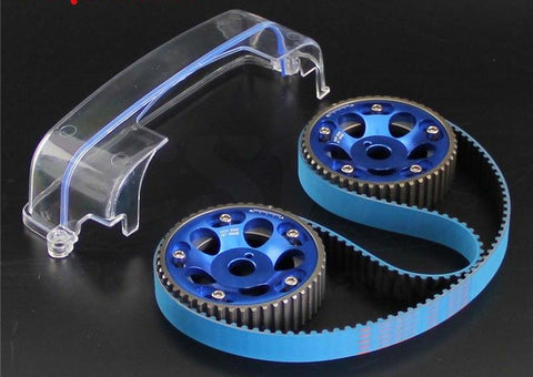 Racing Timing Belt + Cam Cover + Cam Gear Pulley Fits Kit For Toyota Supra MK4 IV 2JZ-GTE 2JZ 1993-2002 Red/Blue/Purple 2JZGTE Aristo