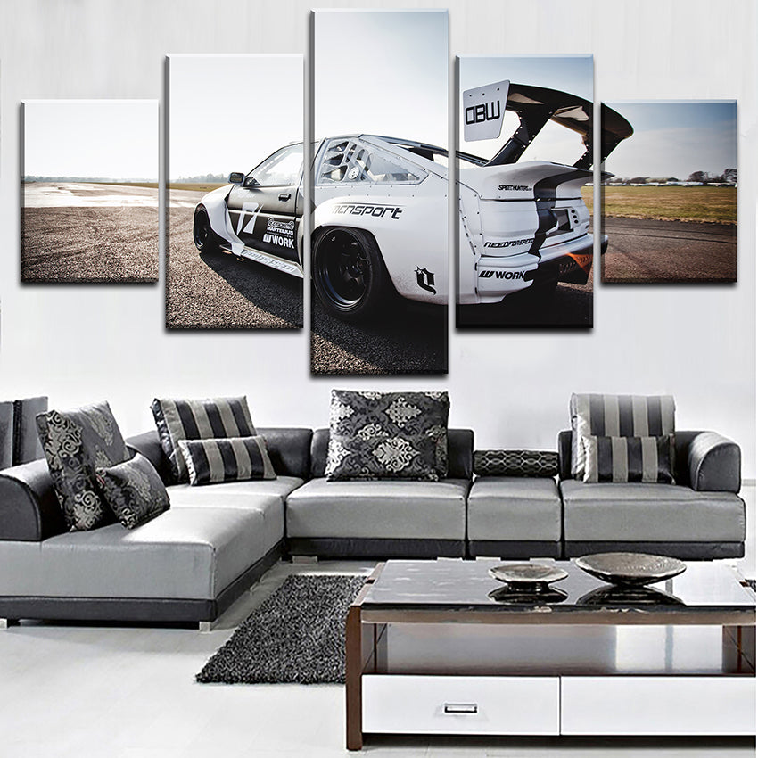 Wall Art Decortive Canvas Print Painting 5 Pieces Toyota White Sports Car Poster Modern Artwork For Bedroom Framework
