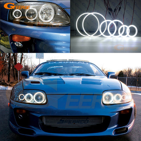 Toyota supra MKIV JZA80 1993-2002 6 pcs smd led Angel Eyes Halo Rings for Headlights Super bright 3528 SMD led Angel Eyes kit DRL