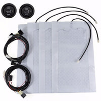 Universal 2 Seats Heated Seat Heater Kit 12V Carbon Fiber Round High Low Switch