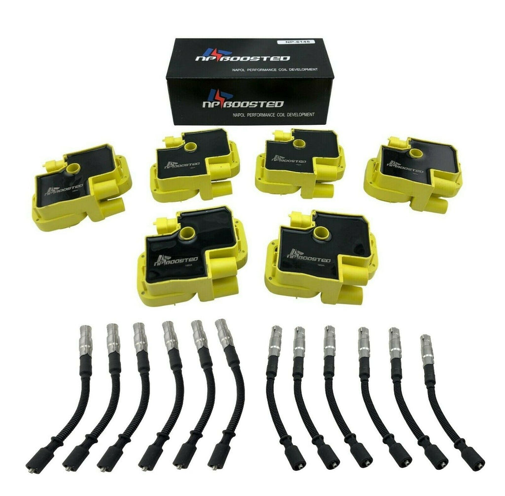 6 Ignition Coils & Plug Wires for C32 SLK32 AMG ML320 E320 CLK320 Crossfire 3.2L