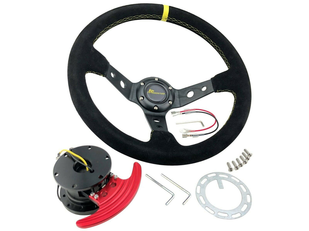 350mm Offset Racing Yellow Stitched Suede Steering Wheel & FLIP UP Quick Release