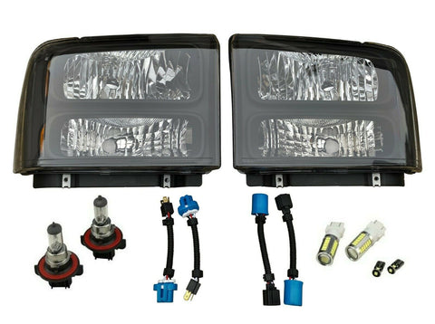 1999-04 Conversion Harley Headlights Set for F250 F350 F450 Super Duty Excursion