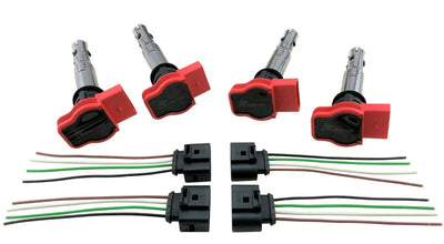 4 Ignition Coil Packs w/ Harness for Audi R8 to Custom Conversion European & JDM