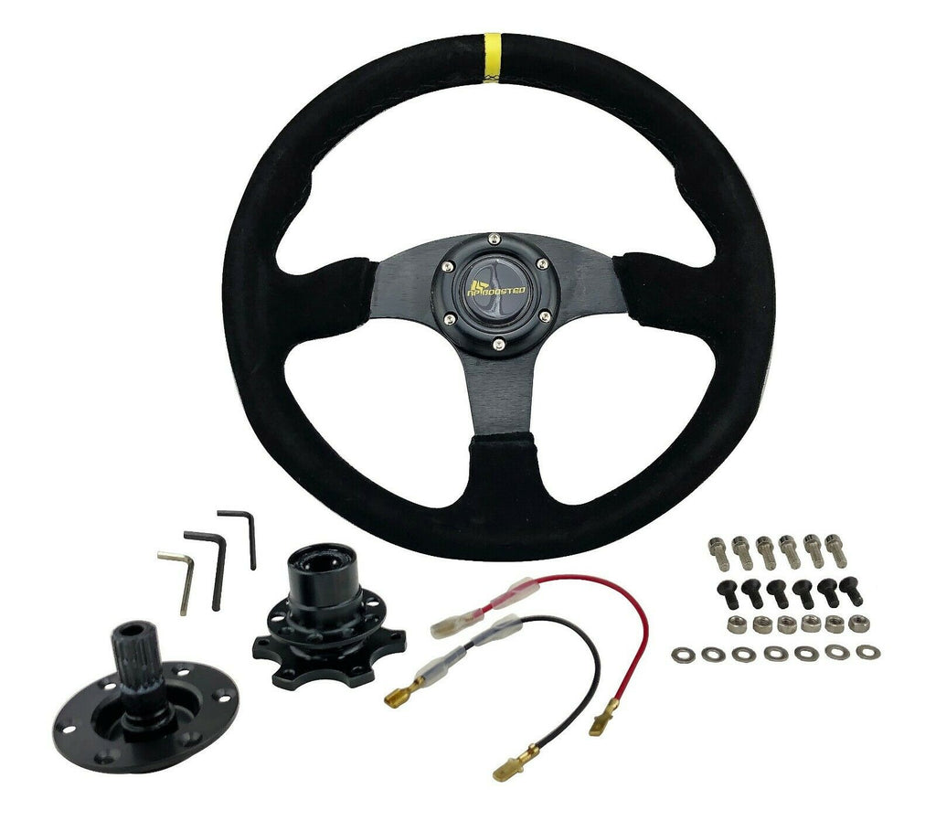 350MM Universal Flat Dish Racing STEERING WHEEL & Quick Release Hub Adapter Kit