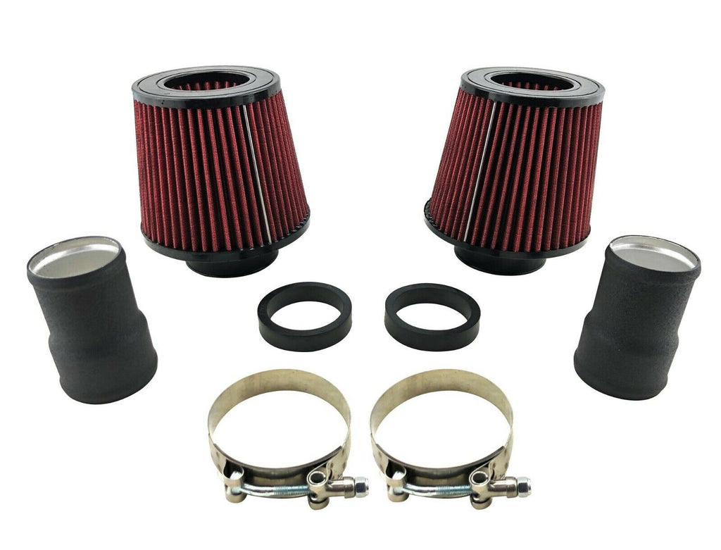 Twin Cold Air Intake Adapter Kit & Filters + T-Bolt Clamp for 135i 335i 535i N54