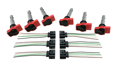 6 Ignition Coil Packs w/ Harness for Audi R8 to Custom Conversion European & JDM