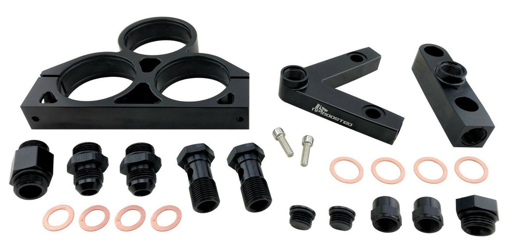 Billet Triple 044 60mm Fuel Pumps Inlet / Outlet V Manifold Mounting Bracket Kit