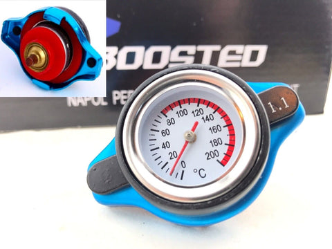 JDM Performance Radiator Cap 1.1 Bar 16 PSI Pressure Rating w/ Temperature Gauge
