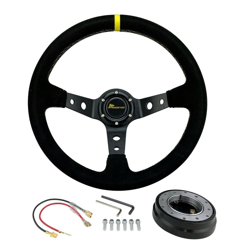 350MM Universal DISHED Racing STEERING WHEEL + Low Profile Quick Release + HORN