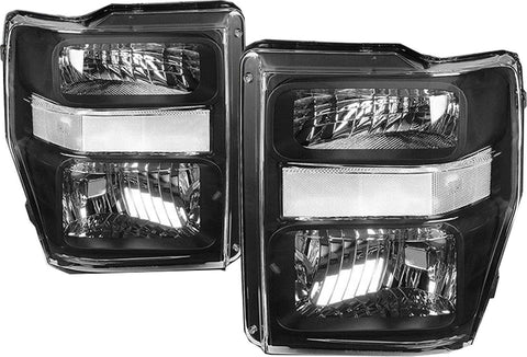 Left & Right Black Housing Headlights for 08-10 Ford F250 F350 Super Duty