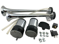 SUPER LOUD !! 145DB Universal Dual Chrome Trumpet Blaster Horns 2 Compressor Kit
