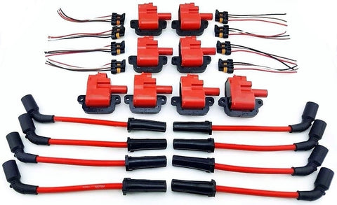 10MM WIRES RED & 8 PACK PRO HI OUTPUT PERFORMANCE IGNITION COIL PACKS LS1  LS6 LS