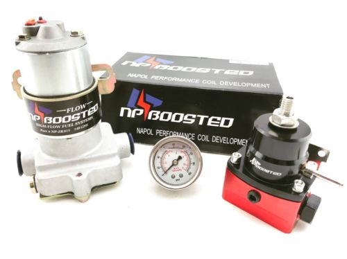 14PSI High Flow Electric Fuel Pump 140GPH Universal Regulator & Pressure Gauge