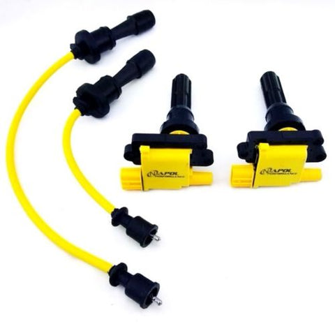 JDM MITSUBISHI LANCER EVOLUTION IGNITION COIL PACKS WIRES SET EVO 4 5 6 7 8 9 MR