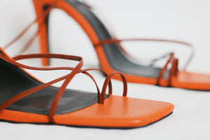 [PREORDER] MITOPÉ ankle wrap sandals in brown + orange