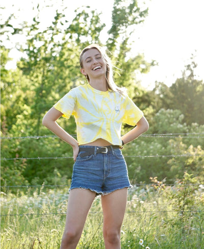 Yellow Spider Tie Dye Tee/Crop