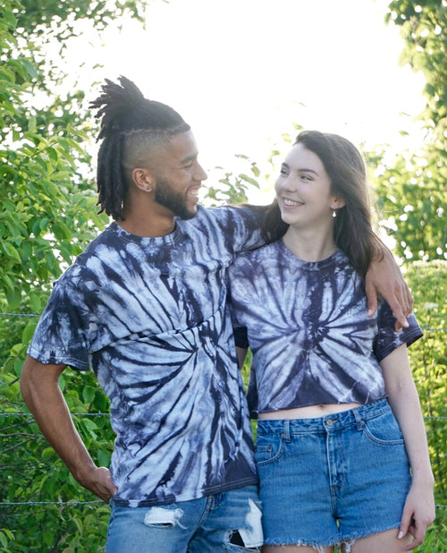 Black Spider Tie Dye Tee/Crop