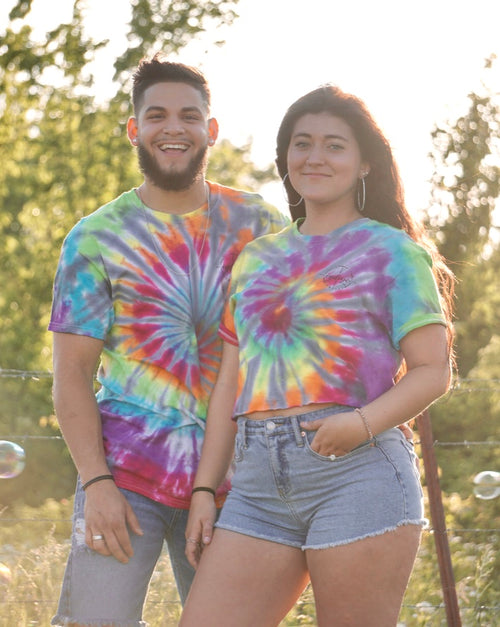 Gray Rainbow Spider Tie Dye Tee/Crop