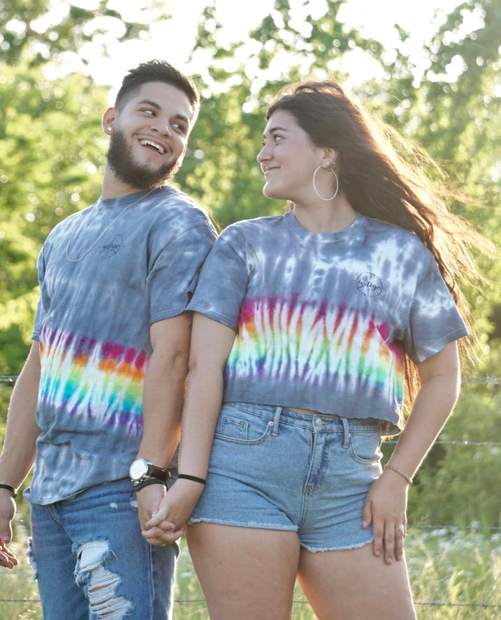 Gray Rainbow Tie Dye Tee/Crop