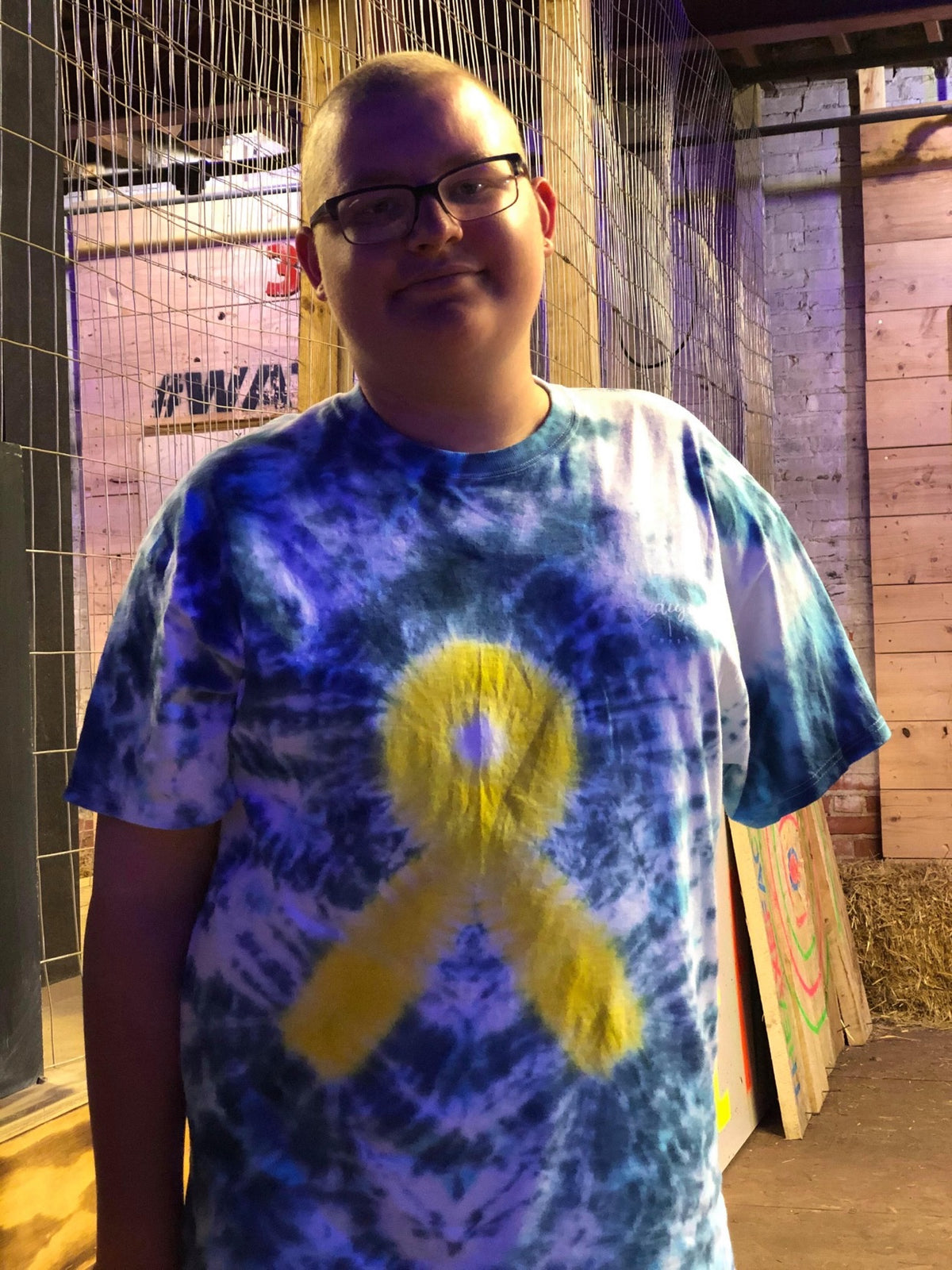 Gold Ribbon Tie Dye Tee Shirt
