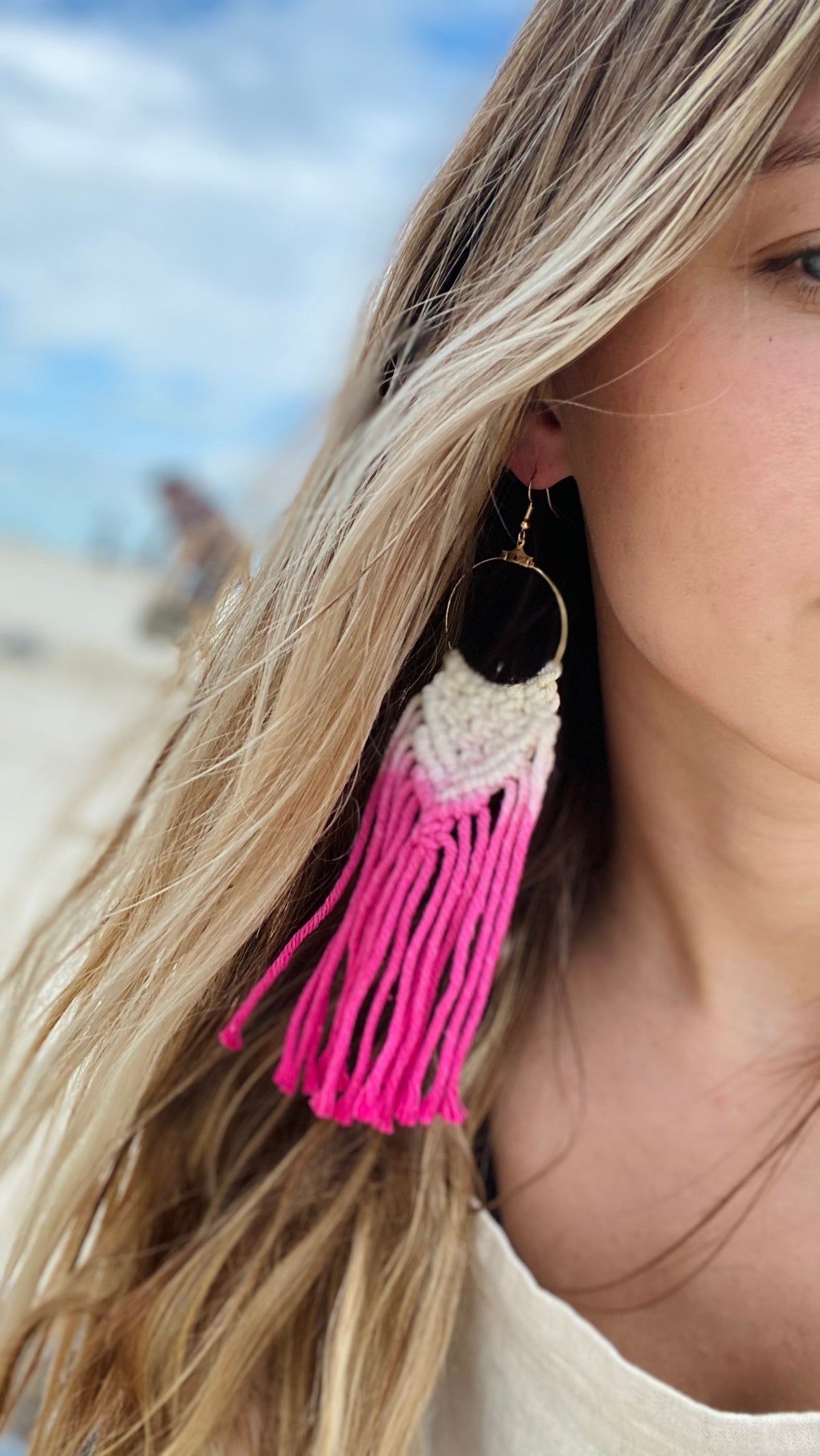 Tie Dye Macrame Earrings Summer Beach Jewelry Hand Dyed