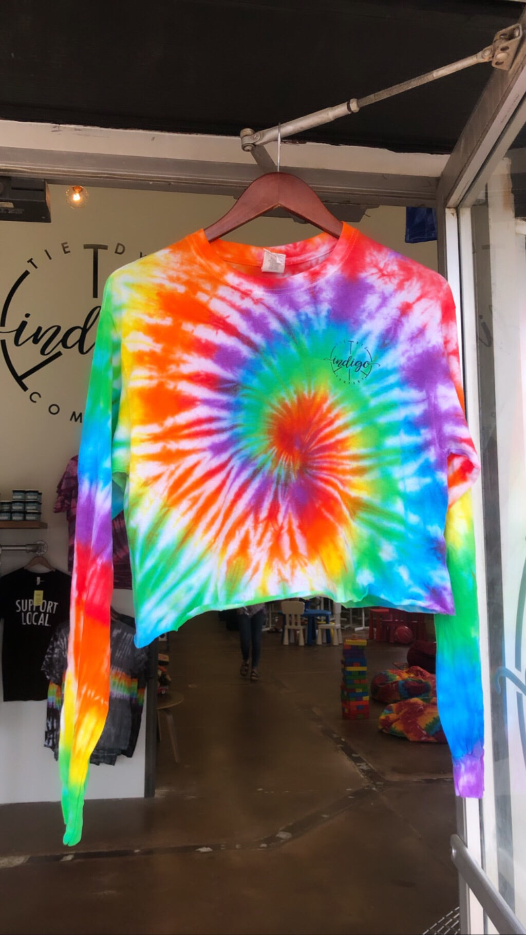 Rainbow Crop Tie Dye Long-Sleeve