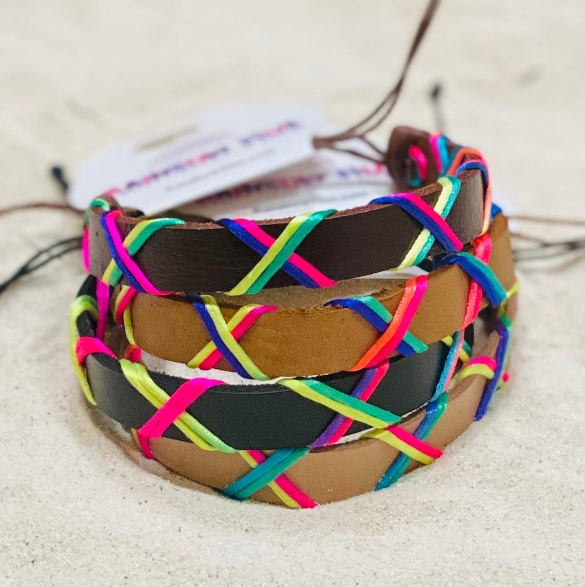 Criss crossed Neon Thread Leather Summer Beach Jewelry