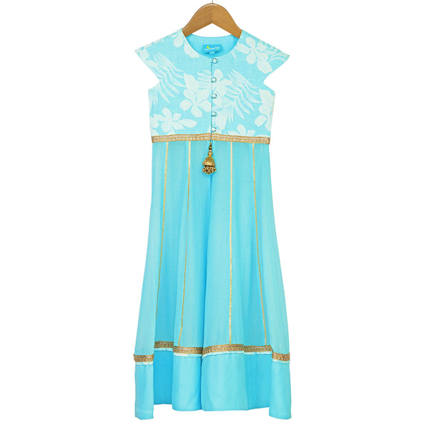 Aqua Rose Anarkali Set