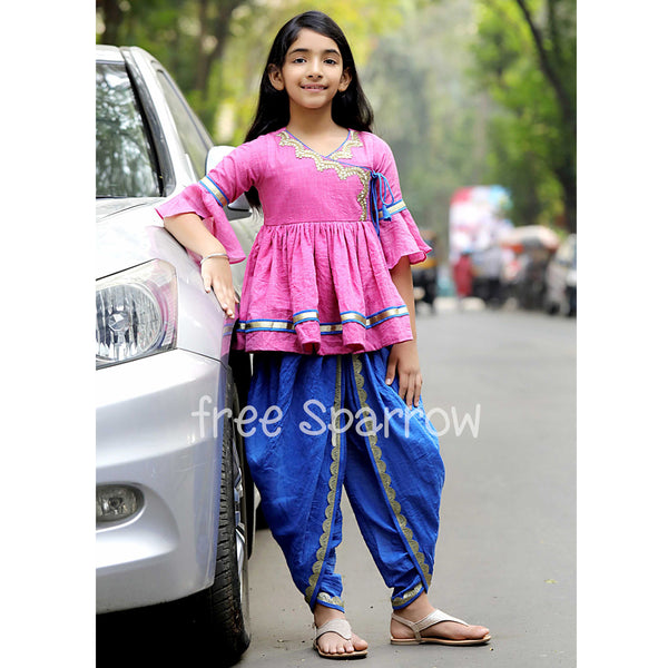 Pink Blue Traditional Dhoti Set