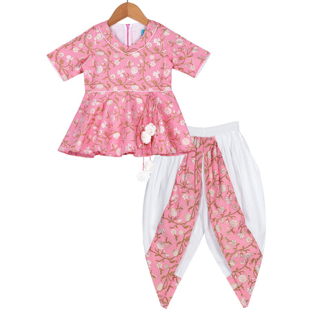 Pink Rouge Dhoti Set