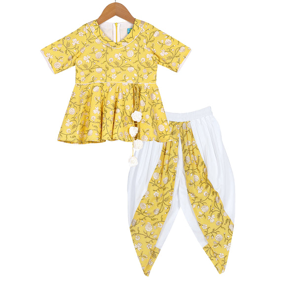 Yellow Rouge Dhoti Set