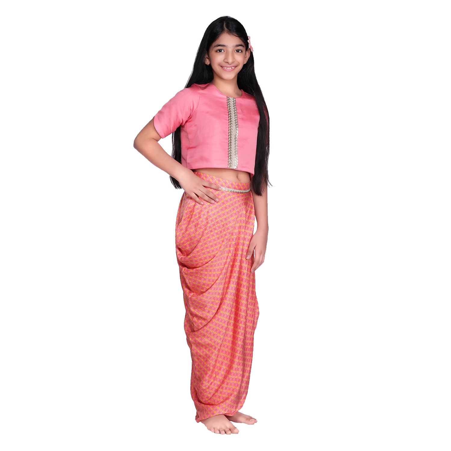 Peach Cowl Dhoti Skirt Set