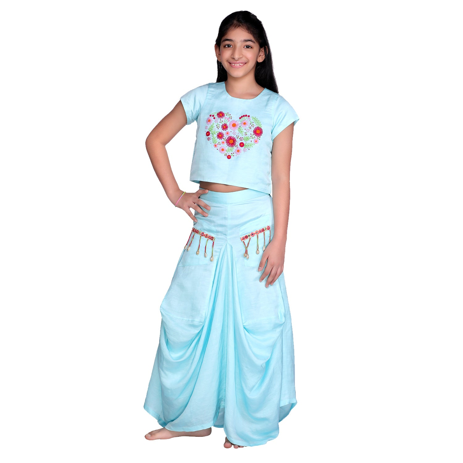 Blue Daisy Dhoti Skirt Set