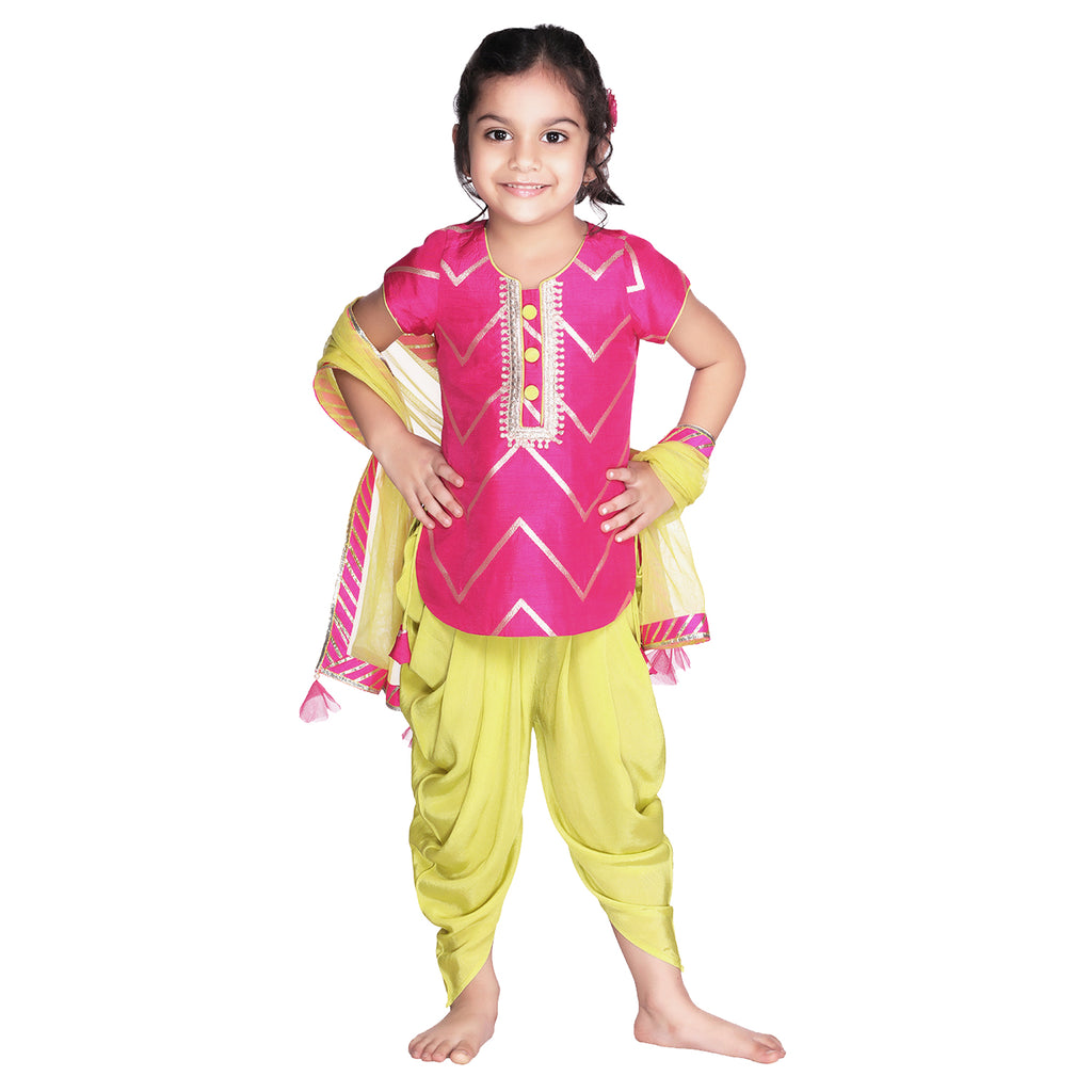 Fuchsia Love Dhoti Set