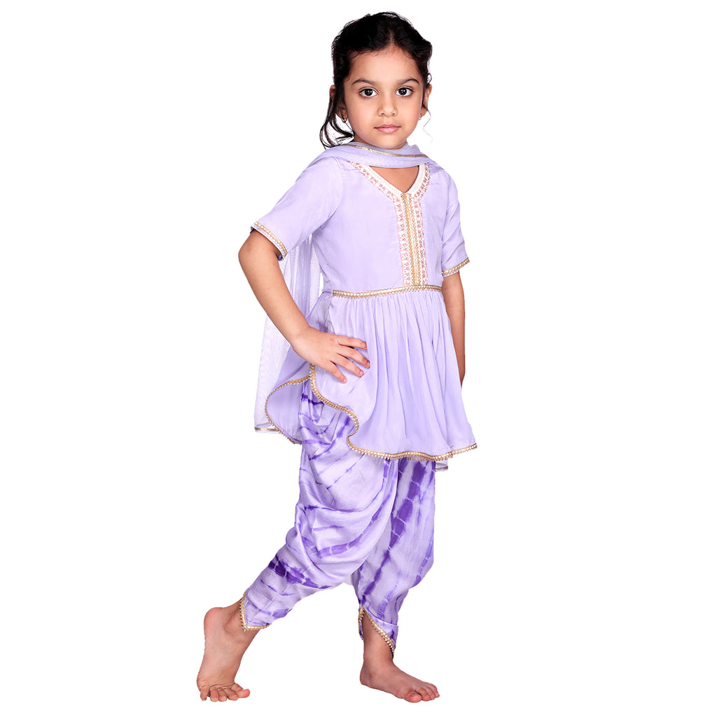 Purple Tie-Dye Dhoti Set