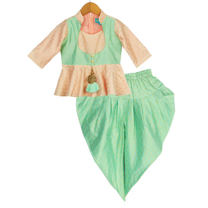 Peach Glow Peplum Top Dhoti Set