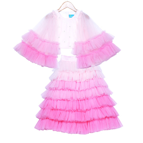 Ombre Pink Waterfall Skirt Set