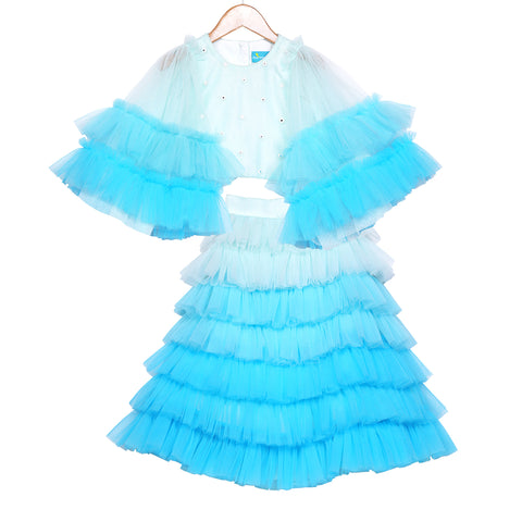Ombre Blue Waterfall Skirt Set