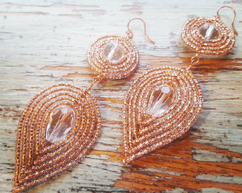 Rose Gold Glamour Beaded Earrings