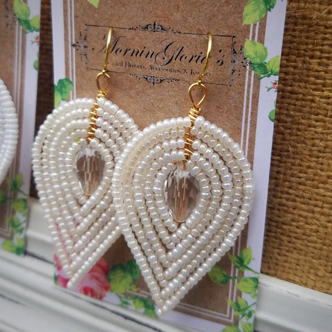 Large Beaded Petal Earrings - Bridal